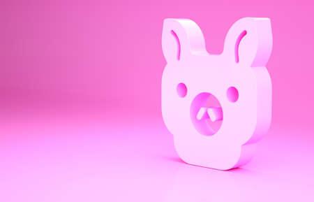 Pink Pig icon isolated on pink background. Animal symbol. Minimalism concept. 3d illustration 3D render