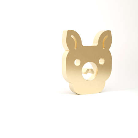 Gold Pig icon isolated on white background. Animal symbol. 3d illustration 3D render