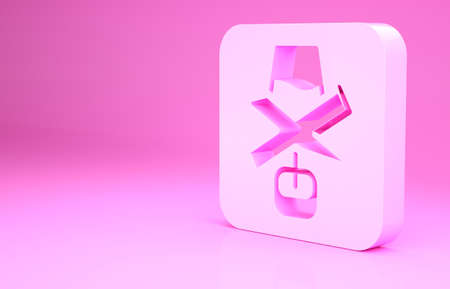 Pink No alcohol icon isolated on pink background. Prohibiting alcohol beverages. Forbidden symbol with beer bottle glass. Minimalism concept. 3d illustration 3D render