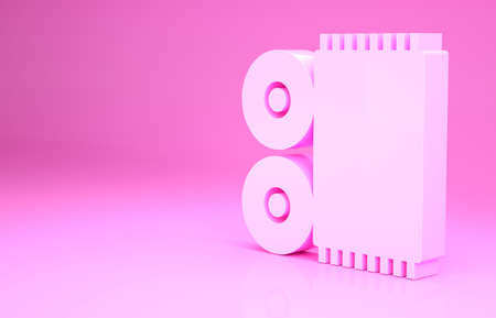 Pink Traditional carpet culture ramadan arabic islamic celebration icon isolated on pink background. Minimalism concept. 3d illustration 3D render