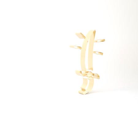 Gold Arabian saber icon isolated on white background. 3d illustration 3D render