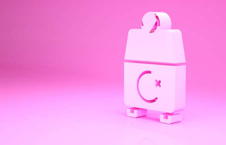 Pink Donate or pay your zakat as muslim obligatory icon isolated on pink background. Muslim charity or alms in ramadan kareem before eid al-fir. Minimalism concept. 3d illustration 3D render