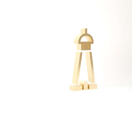 Gold Mosque tower or minaret icon isolated on white background. 3d illustration 3D render Archivio Fotografico