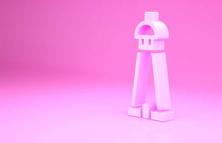 Pink Mosque tower or minaret icon isolated on pink background. Minimalism concept. 3d illustration 3D render