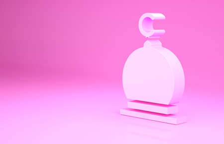 Pink Muslim Mosque icon isolated on pink background. Minimalism concept. 3d illustration 3D render