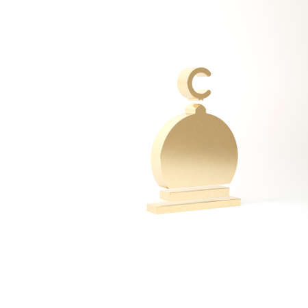 Gold Muslim Mosque icon isolated on white background. 3d illustration 3D render