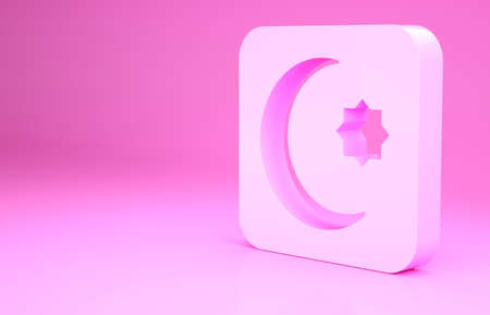 Pink Star and crescent - symbol of Islam icon isolated on pink background. Religion symbol. Minimalism concept. 3d illustration 3D render