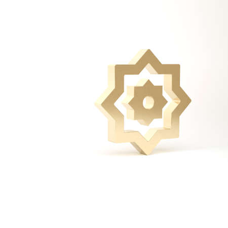 Gold Islamic octagonal star ornament icon isolated on white background. 3d illustration 3D render