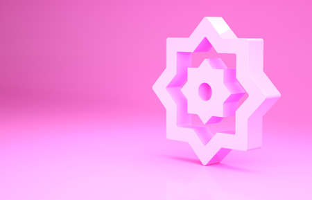 Pink Islamic octagonal star ornament icon isolated on pink background. Minimalism concept. 3d illustration 3D render