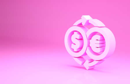 Pink Money exchange icon isolated on pink background. Euro and Dollar cash transfer symbol. Banking currency sign. Minimalism concept. 3d illustration 3D render