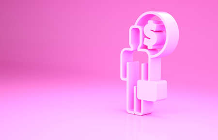 Pink Business man planning mind icon isolated on pink background. Human head with dollar. Idea to earn money. Business investment growth. Minimalism concept. 3d illustration 3D render