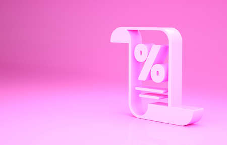 Pink Finance document icon isolated on pink background. Paper bank document for invoice or bill concept. Minimalism concept. 3d illustration 3D render