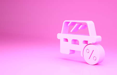 Pink Car leasing percent icon isolated on pink background. Credit percentage symbol. Minimalism concept. 3d illustration 3D render Archivio Fotografico