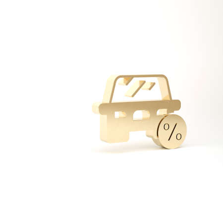 Gold Car leasing percent icon isolated on white background. Credit percentage symbol. 3d illustration 3D render