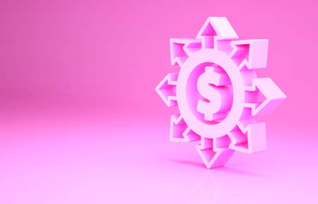 Pink Dollar, share, network icon isolated on pink background. Minimalism concept. 3d illustration 3D render