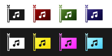 Set Music festival, access, flag, music note icon isolated on black and white background. Vector