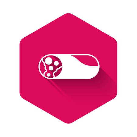 White Burrito icon isolated with long shadow background. Traditional mexican fast food. Pink hexagon button. Vector