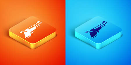 Isometric Vintage pistols icon isolated on orange and blue background. Ancient weapon. Vector Stock Illustratie