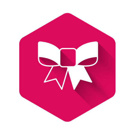 White Gift bow icon isolated with long shadow background. Pink hexagon button. Vector