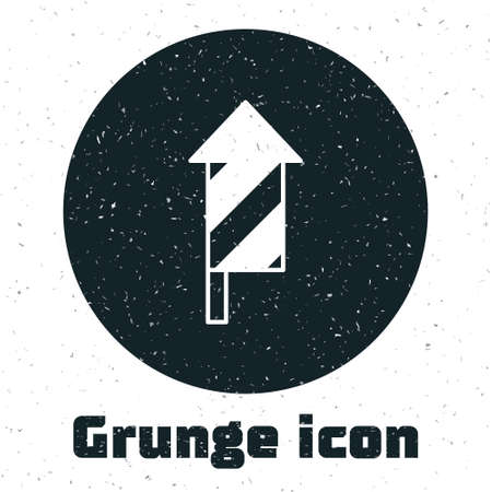 Grunge Firework rocket icon isolated on white background. Concept of fun party. Explosive pyrotechnic symbol. Monochrome vintage drawing. Vector