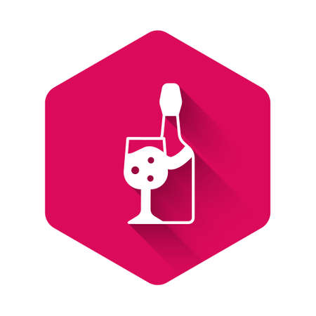 White Champagne bottle with glass icon isolated with long shadow background. Pink hexagon button. Vector