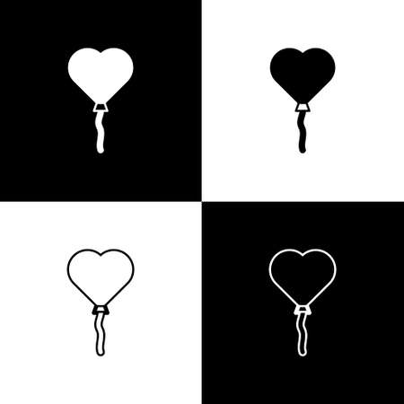 Set Balloons in form of heart with ribbon icon isolated on black and white background. Valentines day. Vector Stock Illustratie