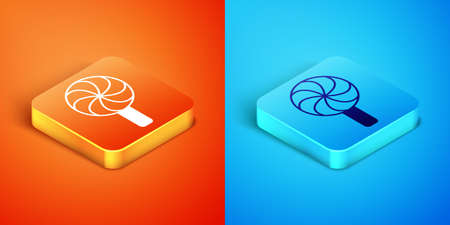 Isometric Lollipop icon isolated on orange and blue background. Candy sign. Food, delicious symbol. Vector