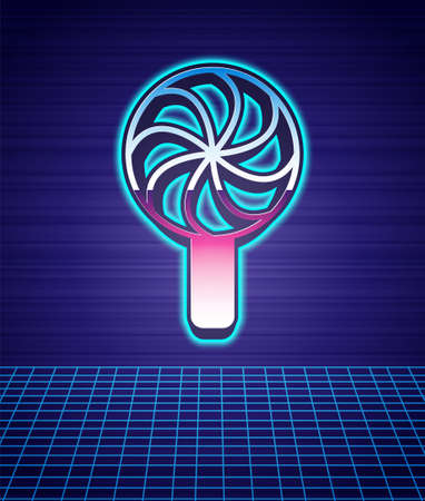Retro style Lollipop icon isolated futuristic landscape background. Candy sign. Food, delicious symbol. 80s fashion party. Vector Stock Illustratie