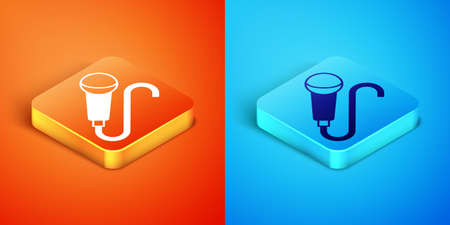 Isometric Microphone icon isolated on orange and blue background. On air radio mic microphone. Speaker sign. Vector Stock Illustratie