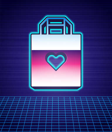 Retro style Shopping bag with heart icon isolated futuristic landscape background. Shopping bag shop love like heart icon. Valentines day symbol. 80s fashion party. Vector