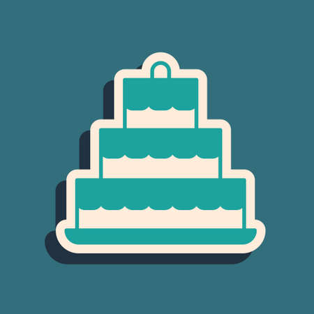 Green Cake with candles icon isolated on green background. Happy Birthday. Long shadow style. Vector Stock Illustratie