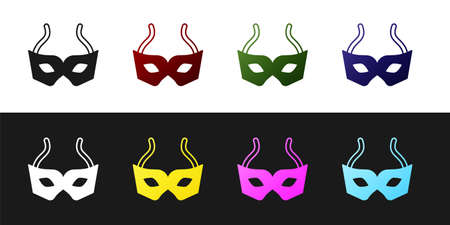 Set Festive mask icon isolated on black and white background. Merry Christmas and Happy New Year. Vector
