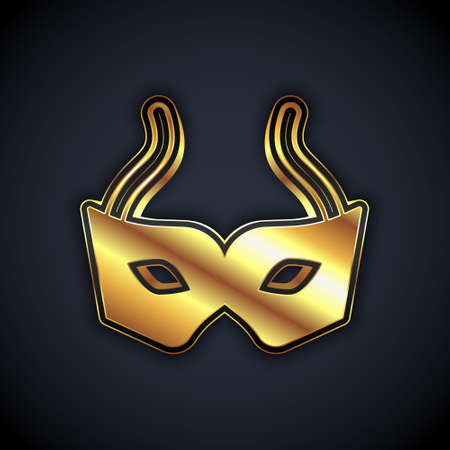 Gold Festive mask icon isolated on black background. Merry Christmas and Happy New Year. Vector Stock Illustratie