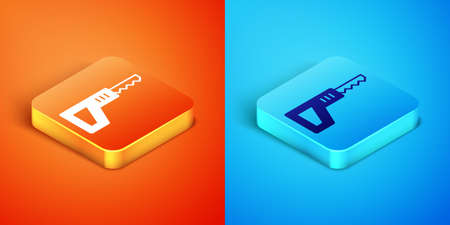 Isometric Reciprocating saw and saw blade icon isolated on orange and blue background. Vector