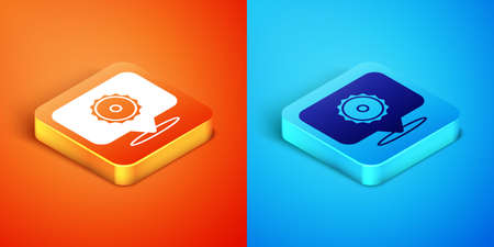 Isometric Circular saw blade icon isolated on orange and blue background. Saw wheel. Vector