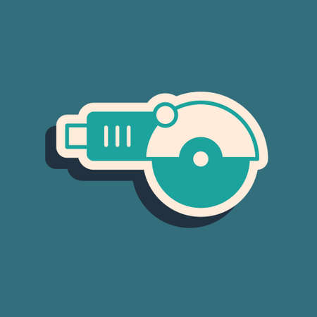 Green Angle grinder icon isolated on green background. Long shadow style. Vector Stock Illustratie