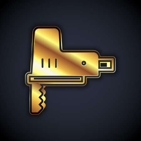 Gold Electric jigsaw with steel sharp blade icon isolated on black background. Power tool for woodwork. Vector