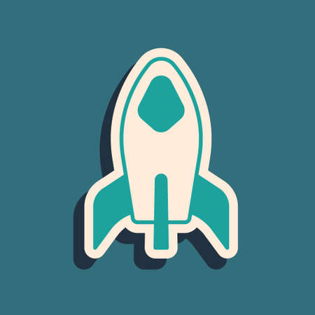 Green Rocket ship icon isolated on green background. Space travel. Long shadow style. Vector Stock Illustratie