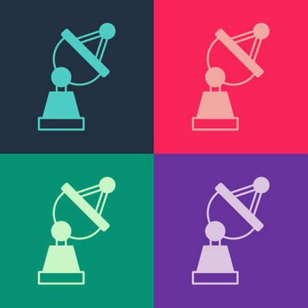 Pop art Satellite dish icon isolated on color background. Radio antenna, astronomy and space research. Vector