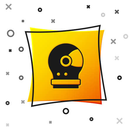 Black Astronaut helmet icon isolated on white background. Yellow square button. Vector