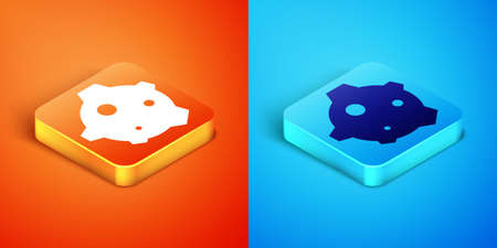 Isometric Asteroid icon isolated on orange and blue background. Vector