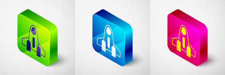 Isometric Rocket ship icon isolated on grey background. Space travel. Square button. Vector Stock Illustratie
