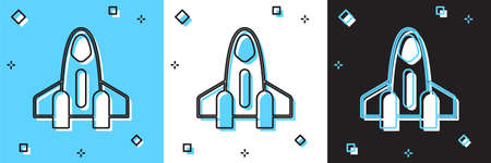 Set Rocket ship icon isolated on blue and white, black background. Space travel. Vector
