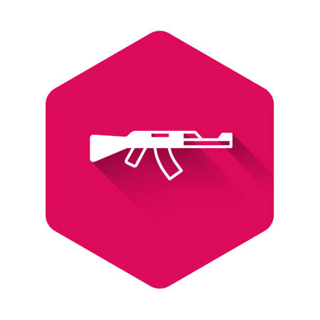 White Submachine gun icon isolated with long shadow background. Pink hexagon button. Vector