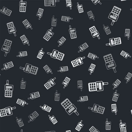 Grey Walkie talkie icon isolated seamless pattern on black background. Portable radio transmitter icon. Radio transceiver sign. Vector