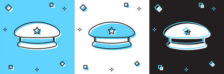 Set Military beret icon isolated on blue and white, black background. Soldiers cap. Army hat. War beret. Vector Stock Illustratie