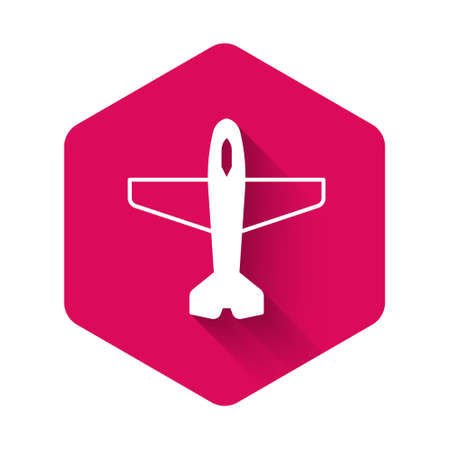 White Plane icon isolated with long shadow background. Flying airplane icon. Airliner sign. Pink hexagon button. Vector