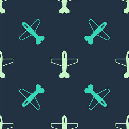 Green Plane icon isolated seamless pattern on blue background. Flying airplane icon. Airliner sign. Vector