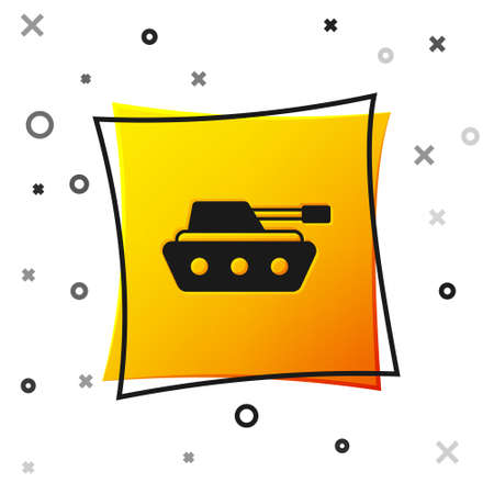 Black Military tank icon isolated on white background. Yellow square button. Vector