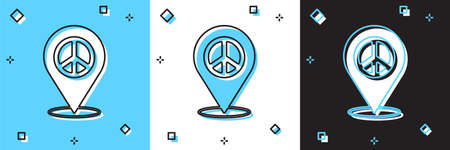 Set Location peace icon isolated on blue and white, black background. Hippie symbol of peace. Vector Stock Illustratie